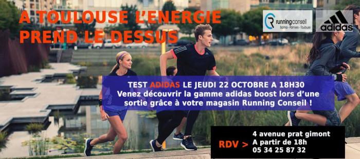 Testing ADIDAS + GARMIN le jeudi 22 Octobre a 18H30 chez RUNNING CONSEIL  BALMA !